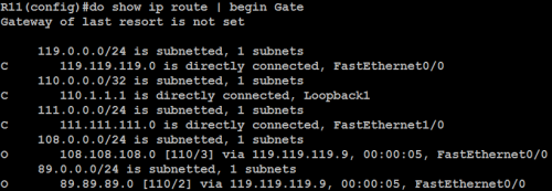 21. R11 routing table before Virtual Link