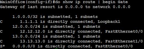 ISP 1 shut (main office effect)